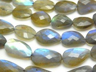 天然石卸 ブルーラブラドライトAAA- フラットタンブルカット 【M〜Lサイズ】 半連/1連(約33cm)
