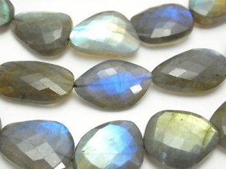 天然石卸 ブルーラブラドライトAAA- フラットタンブルカット 【L〜LLサイズ】 半連/1連(約33cm)