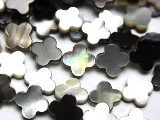 天然石卸 高品質ブラックシェル(黒蝶貝)AAA フラワーモチーフ8×8×2mm 半連/1連(約38cm)