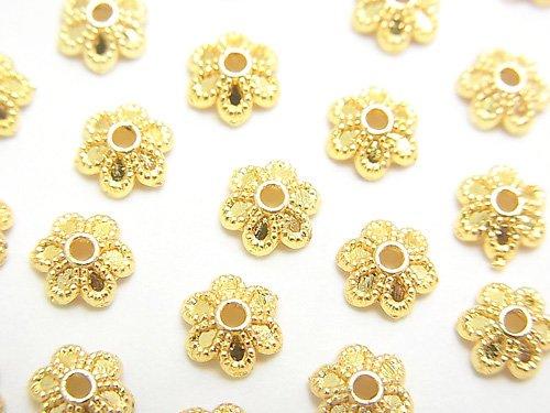メタルパーツ ビーズキャップ6×6×2mm ゴールドカラー 10個