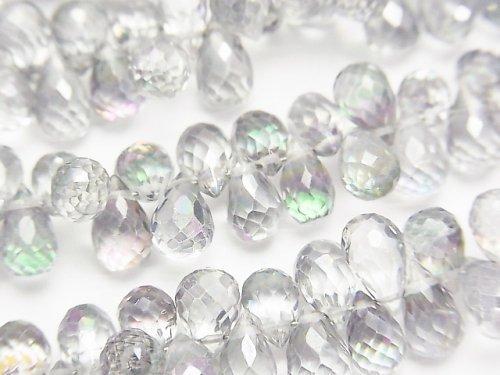 宝石質ミスティックトパーズAAA ドロップ ブリオレットカット グレー系 1/4連〜1連(約18cm)