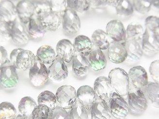 天然石卸 宝石質ミスティックトパーズAAA ドロップ ブリオレットカット グレー系 1/4連〜1連(約18cm)