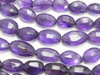 天然石卸 宝石質アメジストAA++ オーバルカット 半連/1連(約38cm)