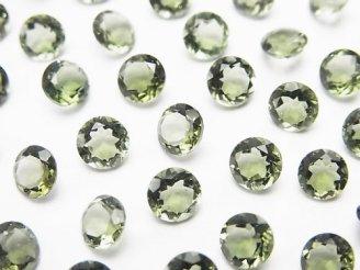 天然石卸 宝石質モルダバイトAAA ラウンドファセットカット5×5×3mm 穴なし 4個1,980円!