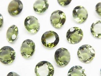 天然石卸 宝石質モルダバイトAAA ラウンドファセットカット6×6×3mm 穴なし 1個1,680円!