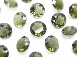 天然石卸 宝石質モルダバイトAAA ラウンドファセットカット8×8×5mm 穴なし 1個2,480円!