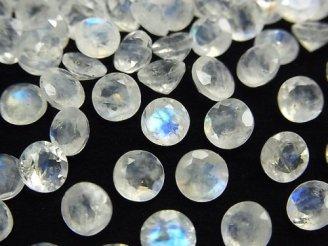 天然石卸 宝石質レインボームーンストーンAAA- 穴なしラウンドファセットカット6×6×4mm 3粒880円!
