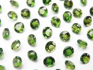 天然石卸 宝石質クロムダイオプサイドAAA 穴なしラウンドファセットカット4×4×3mm 5粒1,380円!