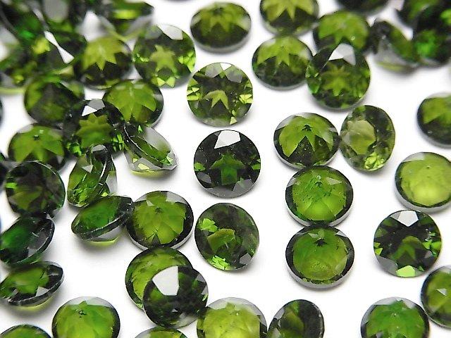 宝石質クロムダイオプサイドAAA 穴なしラウンドファセットカット6×6×4mm 1粒