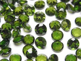 天然石卸 宝石質クロムダイオプサイドAAA 穴なしラウンドファセットカット6×6×4mm 1粒980円!