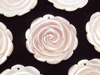 天然石卸 1枚580円!高品質ピンクシェル 薔薇 30mm 1枚