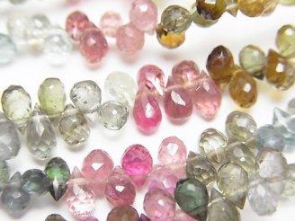 天然石卸 宝石質マルチカラートルマリンAA++ ドロップ ブリオレットカット 半連/1連(約18cm)