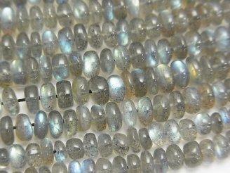 天然石卸 宝石質ラブラドライトAAA ロンデル(ボタン) 半連/1連(約38cm)