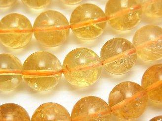 天然石卸 シトリンAA++ ラウンド12mm 1/4連〜1連(約37cm)
