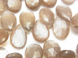 天然石卸 宝石質ブラウン〜グレームーンストーンAAA- ペアシェイプ ブリオレットカット 半連/1連(約18cm)