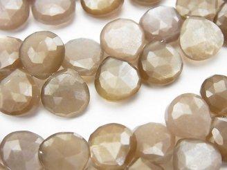 天然石卸 宝石質ブラウンムーンストーンAAA- マロン ブリオレットカット 半連/1連(約20cm)