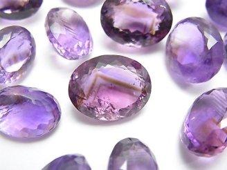 天然石卸 3個980円!宝石質アメジストAA++ オーバル ファセットカット 3個