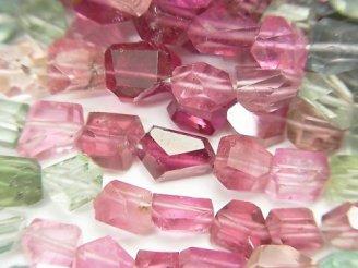 天然石卸 宝石質マルチカラートルマリンAAA- タンブルカット 半連/1連(約33cm)