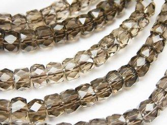 天然石卸 素晴らしい輝き!宝石質スモーキークォーツAAA ボタンカット6×6×4mm 1連(ブレス)