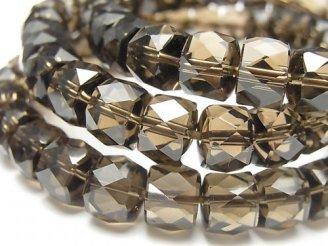 天然石卸 素晴らしい輝き!宝石質スモーキークォーツAAA ボタンカット10×10×7mm 1連(ブレス)