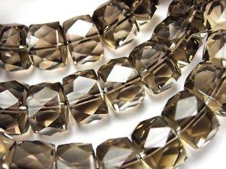 天然石卸 素晴らしい輝き!宝石質スモーキークォーツAAA ボタンカット12×12×8mm 1連(ブレス)