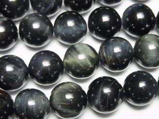 天然石卸 天然色グリーンタイガーアイAAA- ラウンド12mm 半連/1連(約37cm)