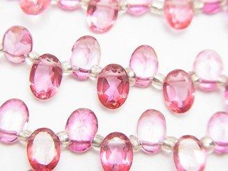 天然石卸 宝石質ピンクトパーズAAA オーバルファセットカット7×5×3mm 1/4連〜1連(約16cm)