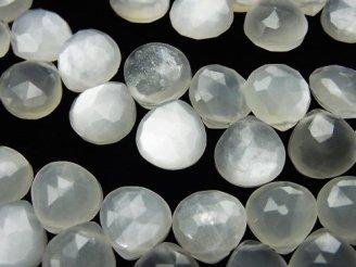 天然石卸 宝石質ホワイトムーンストーンAAA- マロン ブリオレットカット 半連/1連(約20cm)