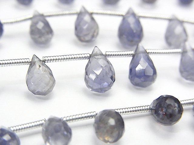 【動画】宝石質アイオライトAA++ ドロップ ブリオレットカット 【ミディアムカラー】 1連(約17cm)