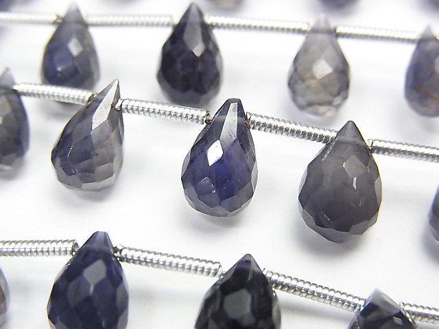 【動画】宝石質アイオライトAA++ ドロップ ブリオレットカット 【ダークカラー】 1連(約17cm)