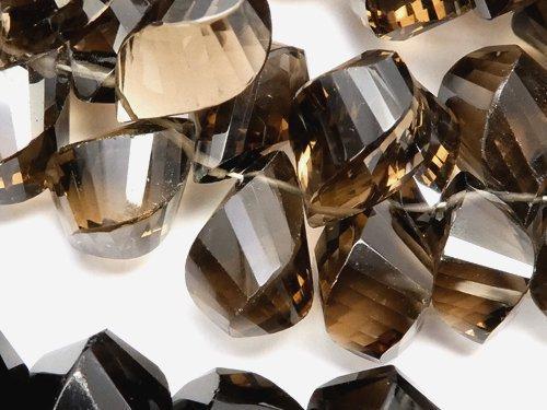 宝石質スモーキークォーツAAA 4面ツイスト ドロップ ブリオレットカット 5粒〜1連(約12cm)