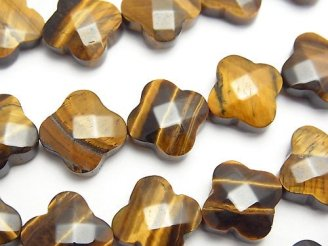 天然石卸 イエロータイガーアイAA+ フラワーカット13×13×5mm 半連/1連(約37cm)