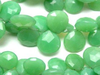 宝石質グリーンカラーカルセドニーAA++ マロン ブリオレットカット 半連/1連(約18cm)