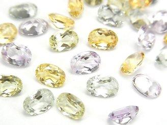 天然石卸 宝石質いろんな天然石AAA オーバル ファセットカット7×5×3mm 8粒・1連(ブレス)