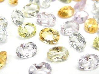 天然石卸 宝石質いろんな天然石AAA オーバル ファセットカット8×6×4mm 8粒・1連(ブレス)