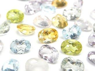 天然石卸 宝石質いろんな天然石AAA オーバル ファセットカット8×6×4mm 12粒・1連(ブレス)