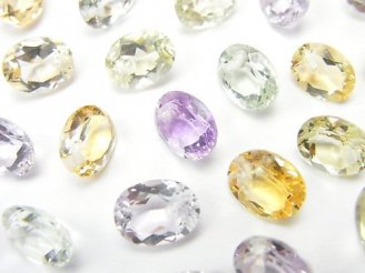 天然石卸 宝石質いろんな天然石AAA オーバル ファセットカット9×7×4mm 8粒・1連(ブレス)