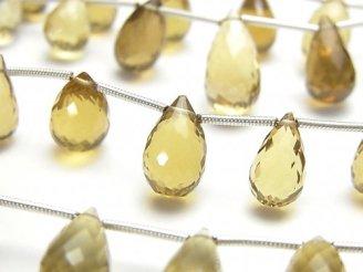 天然石卸 1連1,380円!宝石質ビアクォーツAAA ドロップ ブリオレットカット 【ライト〜ミディアムカラー】 1連(約16cm)