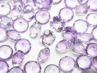 天然石卸 宝石質ブラジル産アメジストAAA 穴なしラウンドファセットカット6×6×3mm 5粒580円!