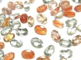 天然石卸 宝石質マルチカラーサンストーンAAA 穴なしオーバルファセットカット6×4mm 10粒680円!