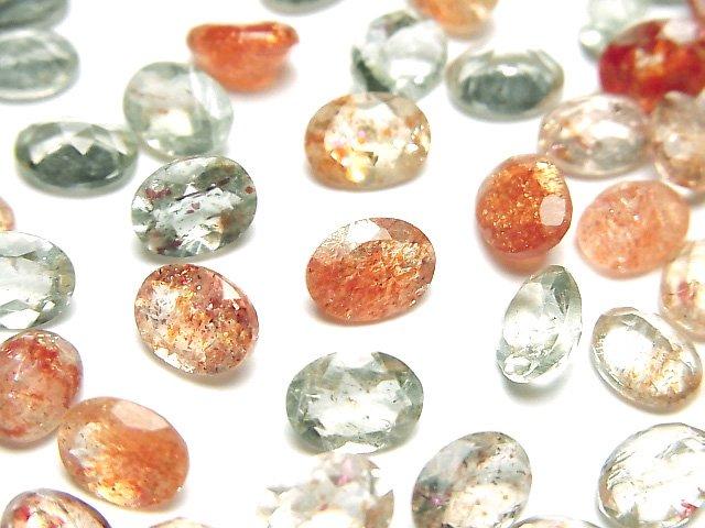 【動画】宝石質マルチカラーサンストーンAAA 穴なしオーバルファセットカット8×6mm 10粒