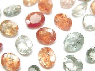 天然石卸 宝石質マルチカラーサンストーンAAA 穴なしオーバルファセットカット10×8mm 5粒1,780円!