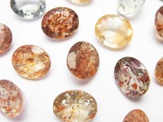 天然石卸 宝石質マルチカラーサンストーンAAA 穴なしオーバルファセットカット12×10mm 5粒2,980円!