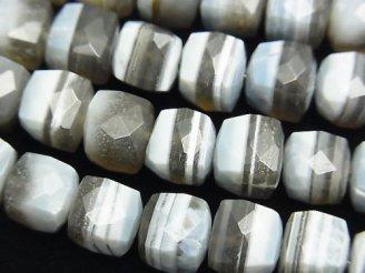 天然石卸 1連1,980円〜!希少!ストライプブルーオパールAA++ キューブカット 1連(約18cm)