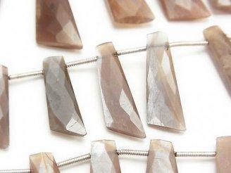 天然石卸 ブラウンムーンストーンAA+ ファンシーカット25×10×4mm 半連/1連(約22cm)