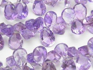 天然石卸 宝石質アメジストAAA ペアシェイプ ファセットカット 半連/1連(約18cm)