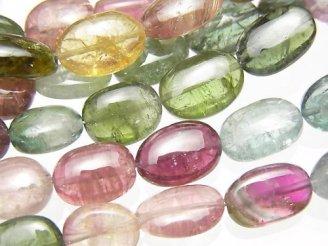 天然石卸 宝石質マルチカラートルマリンAAA- オーバル〜タンブル 半連/1連(約38cm)