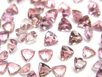 天然石卸 宝石質ピンクトルマリンAAA 穴なしトライアングルファセットカット4×4×2mm 5粒1,380円!