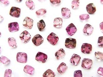 天然石卸 宝石質ピンクトルマリンAAA 穴なしスクエアファセットカット4×4×2.5mm 5粒2,480円!