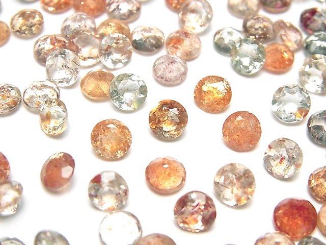 宝石質マルチカラーサンストーンAAA 穴なしラウンドファセットカット5×5mm 10粒